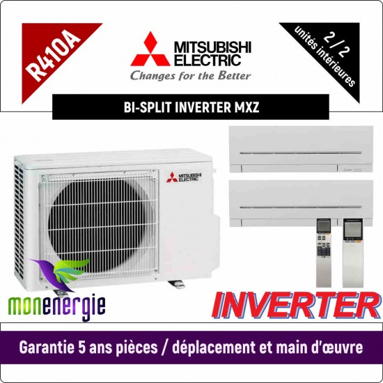 Installation Climatiseur Bi Split réversible mural Standard R410A MXZ-2D33VA + MSZ-AP-15VG + MSZ-AP-25VG