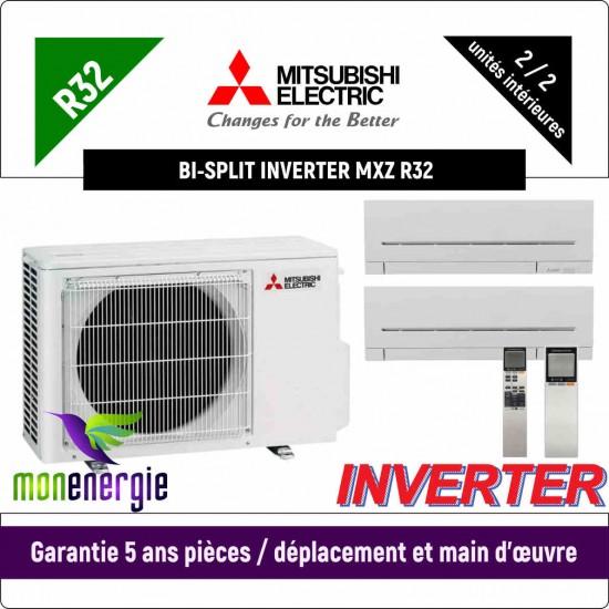 Installation Climatiseur Bi Split réversible mural Standard R32 MXZ-2F33VF + 2 x MSZ-AP-25VG