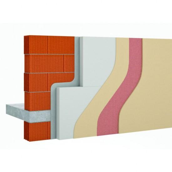 Système ITE avec polystyrène collé et colle, sous-enduit et enduit de finition en pâte prête à l'emploi webertherm PPE PSE collé
